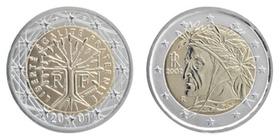 2-Euro Muenzen, Frankreich und Italien, Rueckseiten