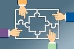 4 Hände Puzzle Share Deal Illustration