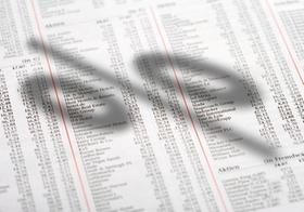 Aktienkurse in Zeitung, Prozentzeichen