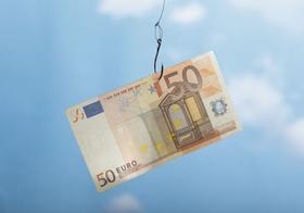 Angel Geldschein Angelhaken 50-Euroschein Euro
