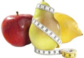 Apfel, Birne und Zitrone mit Massband