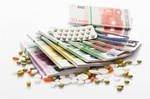 Arzneimittel, Tabletten und Geld