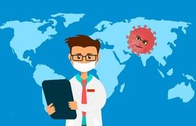 Arzt mit Weltkarte und Virus im Hintergrund