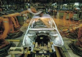 Automobilwerk, Bandstrasse, Roboter