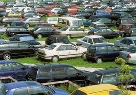 Autos auf Wiesenparkplatz