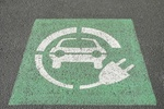03 May 2013, Portland, Oregon, USA --- USA, Oregon, Portland, Parking space for charging electric ve