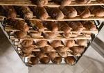 Bäckerei, frische Brote kühlen auf Gestell aus