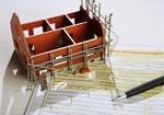 Hausmodell im Rohbau auf Bausparvertrag