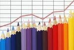 Bilanz Steigung mit roter Linie und Buntstiften
