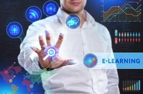 Bildschirm mit E-Learning auf dem eine Hand verschiedene Optionen verbindet