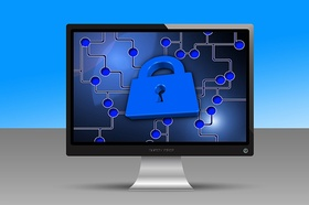 Bildschirm mit vernetztem Schloss - Datenschutz