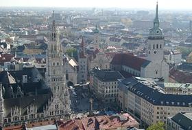 Blick von oben auf München Innenstadt
