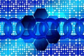 Blockchain blau Kette Netz