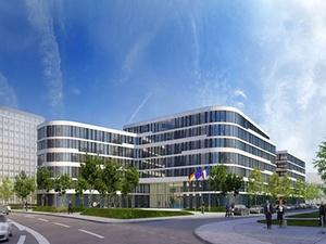 Vodafone-Gebäude in Eschborn feiert Richtfest