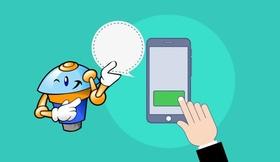 Chatbot antwortet auf Frage in Smartphone