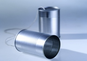 Close-up of tin can telephone