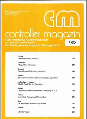 Controller Magazin Ausgabe 5/1988 | Controller Magazin