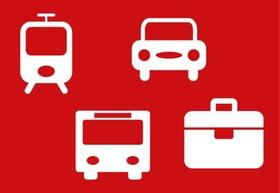 Collage Icons Verkehrsmittel Bus Bahn Auto + Koffer