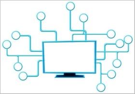 Computer mit blauen Armen Software Netz