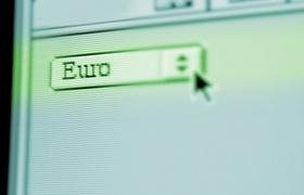Computerbildschirm Maussymbol wählt Euro