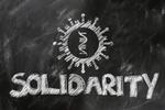 Corona Virus Solidarität Schriftzug Solidarity