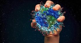 Coronavirus Form Weltkugel Hand Griff