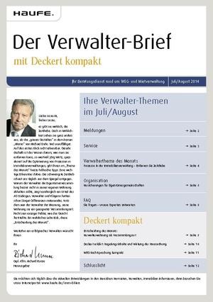 Der Verwalterbrief 07+08/2014 | Verwalter-Brief