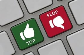 Die Worte Top und Flop als Buttons auf einer Tastatur