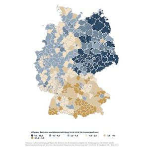 Differenz Mieten- und Lohnentwicklung 2014 bis 2018