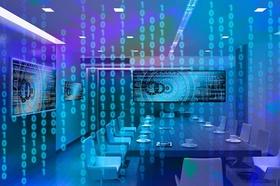 Digitaler (Büro-) Konferenz-Raum mit Binärcodes