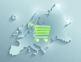 Einkaufswagen auf Europakarte