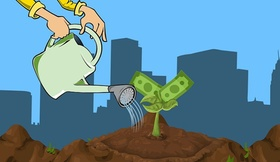 Erbbauzins Hand gießt Geld in Erde im Hintergrund Häuser