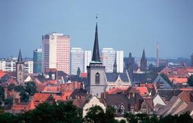 Erfurt Blick auf Dächer und Hochhäuser