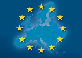 Europakarte mit EU-Sternen