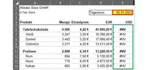 Excel: Mit der Formel WENNNV nicht vorhandene Daten abfangen