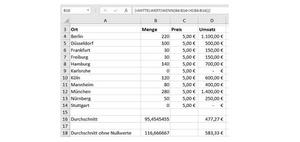 EXCEL-TIPP: Mittelwert ohne Null ermitteln