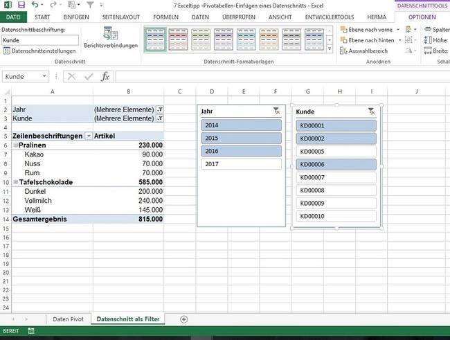 filter in pivot tabellen mit datenschnitt sichtbar machen controlling haufe. Black Bedroom Furniture Sets. Home Design Ideas