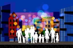 Familien Scherenschnitt vor Wohnhaus Immobilie