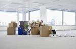 Fertig gepackte Kartons Pflanzen Computer in Büro