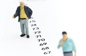 Figuerchen stehen an Zeitstrahl, Rentenalter