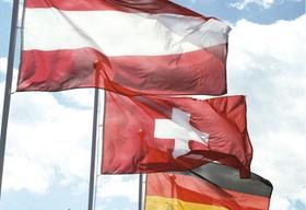Flaggen Österreich, Deutschland, Schweiz