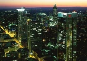 Frankfurt, Skyline bei Nacht von oben, Hessen, Deutschland