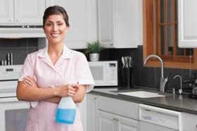 Frau steht in Küche mit Reinigungsmittel in der Hand