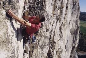 Freeclimber in Felswand *** Local Caption *** Originaldia vorhanden