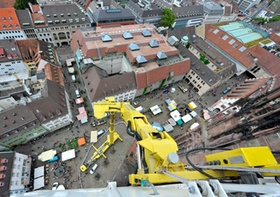 Freiburg Münsterplatz von oben