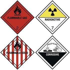 Gefahrenschilder: Hochentzuendliche Gase/Stoffe; Rradioaktiv, Aetzend