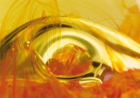 Blasen in Glasstruktur, gelb-orange