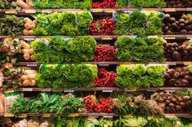 Supermarkt Auslage Gemüse Regal Einkaufen