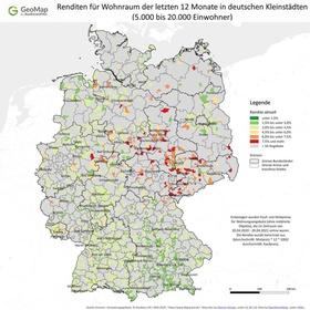 Geomap-Infografik Renditen in Kleinstädten