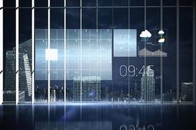 Glasscheibe auf die ein Kalender Wetter usw als Hologramm gestrahlt wird
